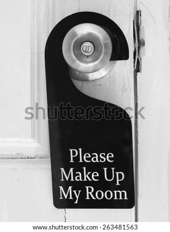 Please make up my room sign on door knob in hotel - stock photo