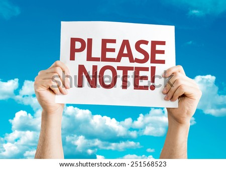 Please Note card with sky background - stock photo