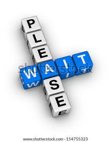 Please Wait crossword puzzle - stock photo