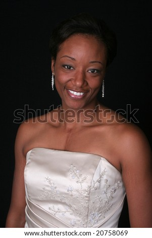 Pleased, friendly african american woman - stock photo