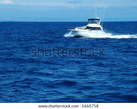 Pleasure Boat in Ocean - stock photo