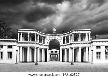 Plecnikove Zale or Zale Central cemetery  is largest and central cemetery of Ljubljana, capital of Slovenia. Shot in black and white in dramatic weather before the storm. - stock photo