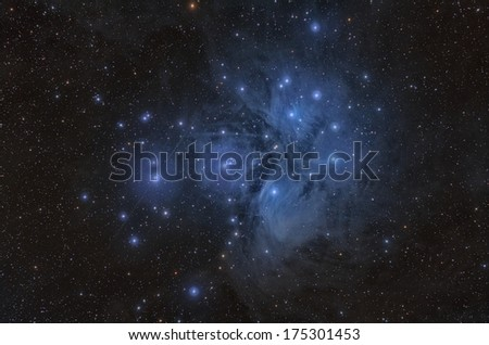 Pleiades or The Seven Sisters, Open Star Cluster and Nebula - stock photo
