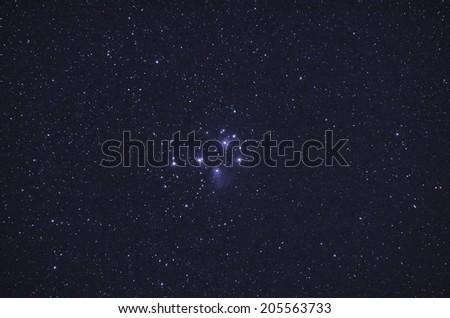 Pleiades star cluster - stock photo