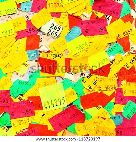 Plenty of colorful price stickers - stock photo