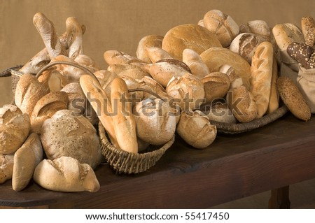 Plenty of different kinds of Baguettes - stock photo