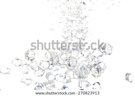 Plenty of Ice cube drop into Water with White background - stock photo