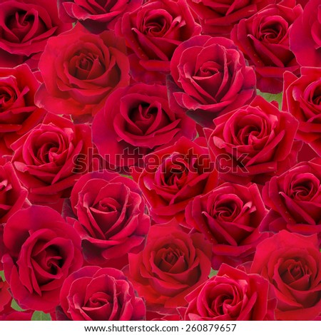 Plenty Red natural roses seamless background. Nostalgic roses endless pattern. - stock photo