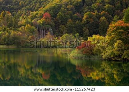 Plitvice lakes of Croatia - national park in autumn - stock photo