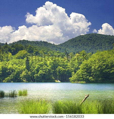 Plitvice lakes of Croatia - national park in summer - stock photo