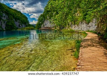 Plitvitce Lakes National Parke Reserve Pathway in Croatia - stock photo