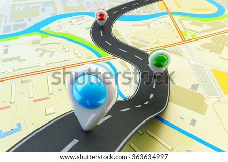 Plot a trip route, travel destination and navigation concept, road lane with colorful pin markers on city map - stock photo