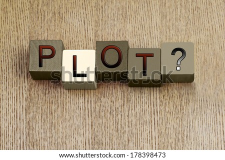 Plot Sign, for creative writing, story, film reviews, education, writers and authors.  - stock photo