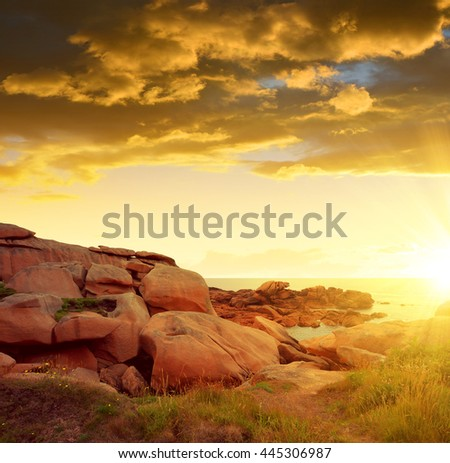 Ploumanach, Pink Granite Coast in Brittany, France - stock photo