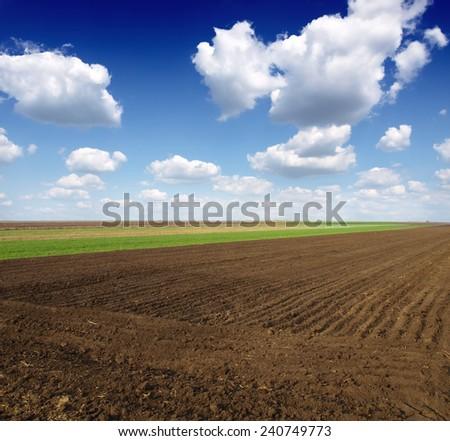 Plowed field in golden light. Polish rural landscape - stock photo