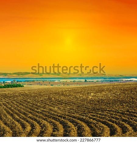 Plowed Field in Spain, Sunset - stock photo