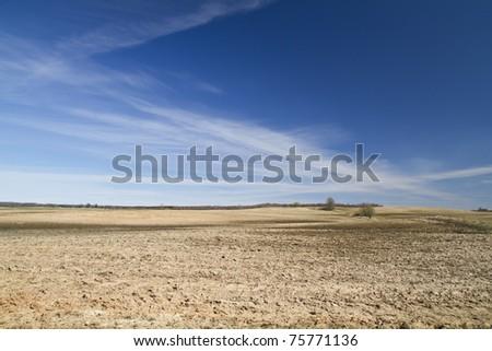 plowed field, spring - stock photo
