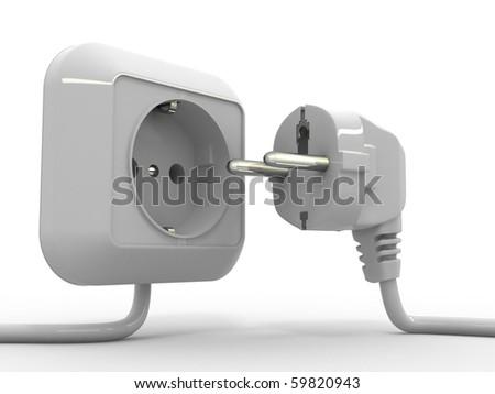 Plug and socket. 3d - stock photo