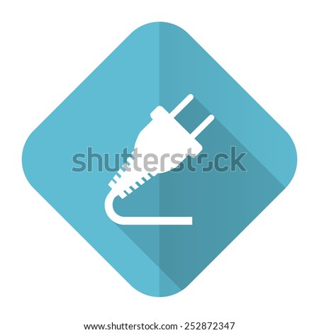 plug flat icon electricity sign  - stock photo