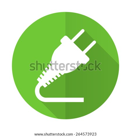 plug green flat icon electricity sign