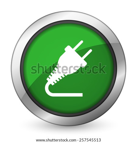 plug green icon electricity sign  - stock photo