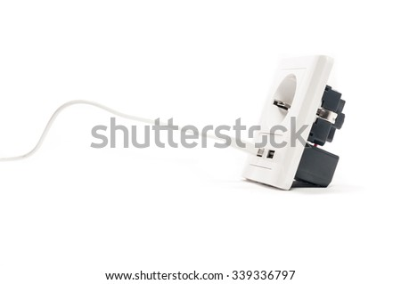 Plug in. A man stabs a usb plug into a usb port - stock photo