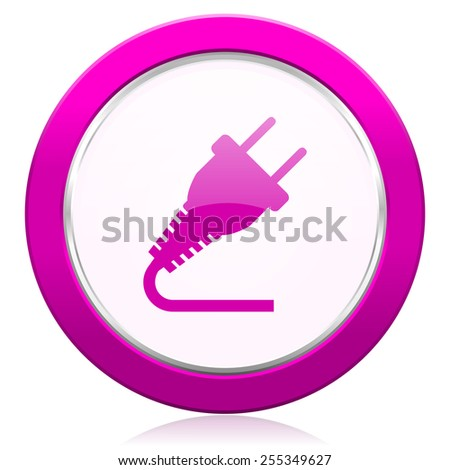 plug violet icon electricity sign  - stock photo