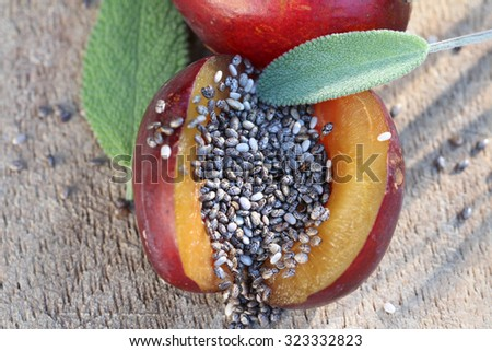 plum and chia-seeds - stock photo