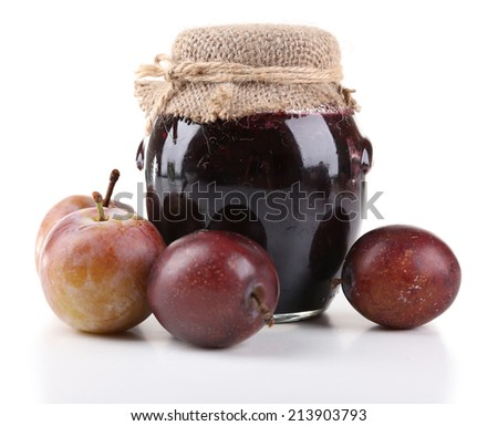 Plum jam and fresh plums isolated on white - stock photo