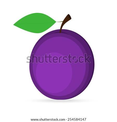 plum on a white background - stock photo