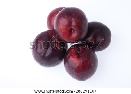 Plum or Sweet Ripe Plum fruit on a background - stock photo