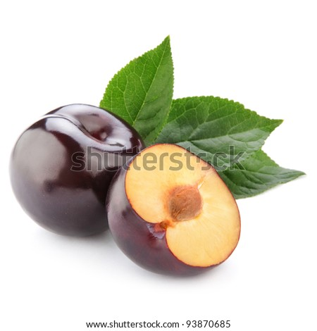 plum with leaf isolated on white background - stock photo
