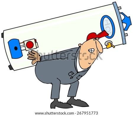 Plumber carrying a gas water heater - stock photo