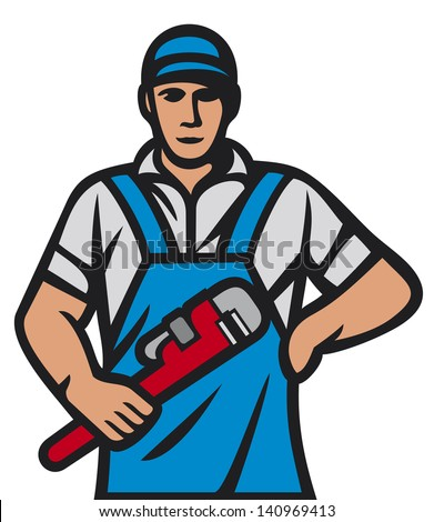 plumber holding a wrench (plumber holding monkey wrench, plumber worker, plumber in uniform with tools, plumber worker, plumber with tools, plumbing services) - stock photo