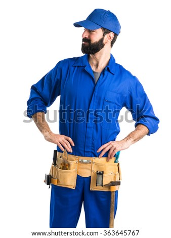 Plumber looking lateral - stock photo