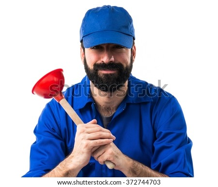 Plumber man with his plunger - stock photo