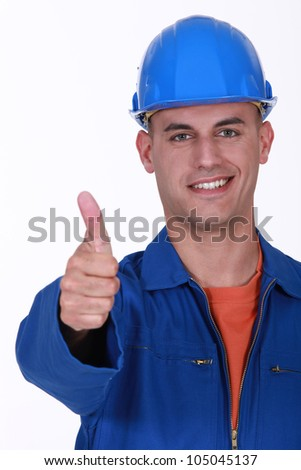 Plumber the giving the go-ahead - stock photo