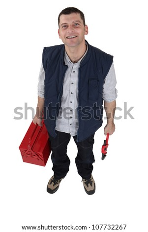 Plumber with a tool box - stock photo