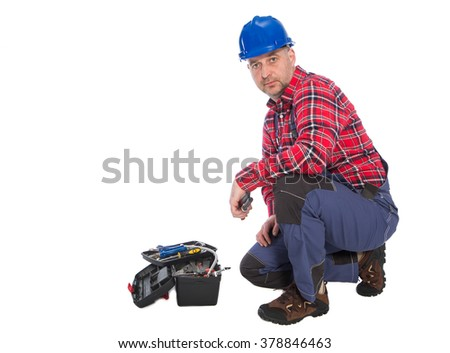 Plumber worker isolated on white ,  - stock photo