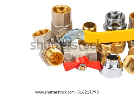 Plumbing fitting and tap, isolated on white background - stock photo