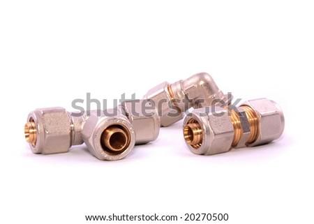 Plumbing isolated on white background - stock photo