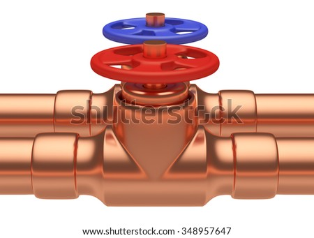 Plumbing pipeline with cold water and hot water pipes water supply system industrial construction: red valve and blue valve on two copper pipes closeup isolated on white, industrial 3D illustration - stock photo