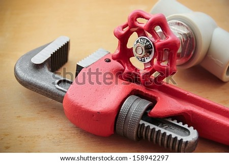 Plumbing work tools. - stock photo