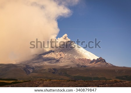 Plume Of Ash And Steam From The Cotopaxi Volcano, South America - stock photo