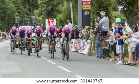 PLUMELEC,FANCE - JUL 12:Team Lampre-Merida riding the Team Time Trial stage between Plumelec and Vannes, during Tour de France on 12 July, 2015. - stock photo