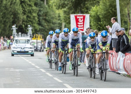 PLUMELEC,FANCE - JUL 12:Team Orica-GreenEdge riding the Team Time Trial stage between Plumelec and Vannes, during Tour de France on 12 July, 2015. - stock photo