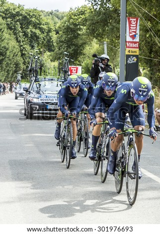 PLUMELEC,FRANCE - JUL 12:Team Movistar riding the Team Time Trial stage between Plumelec and Vannes, during Tour de France on 12 July, 2015. - stock photo
