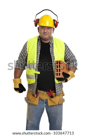 Plump construction worker isolated in white - stock photo