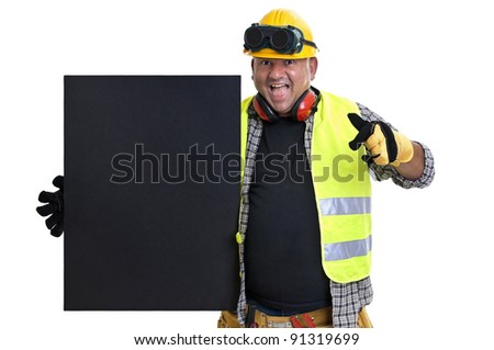 Plump construction worker with black board  isolated in white - stock photo