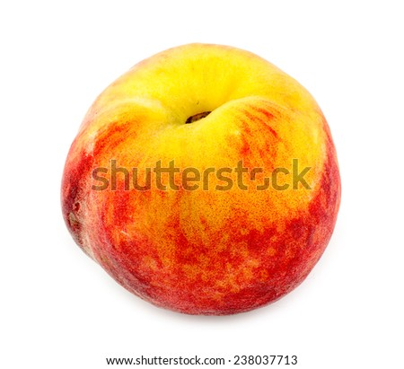 Plump, juicy peach isolated on white - stock photo